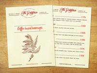 A tasty coffee shop menu