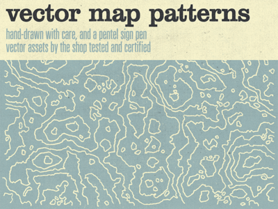 World, meet the hand-drawn vector map patterns! univers thin ultra condensed clarendon std hand-drawn 600 ppi design asset vector asset png bitmap tiff topography lines sbh the shop map pattern