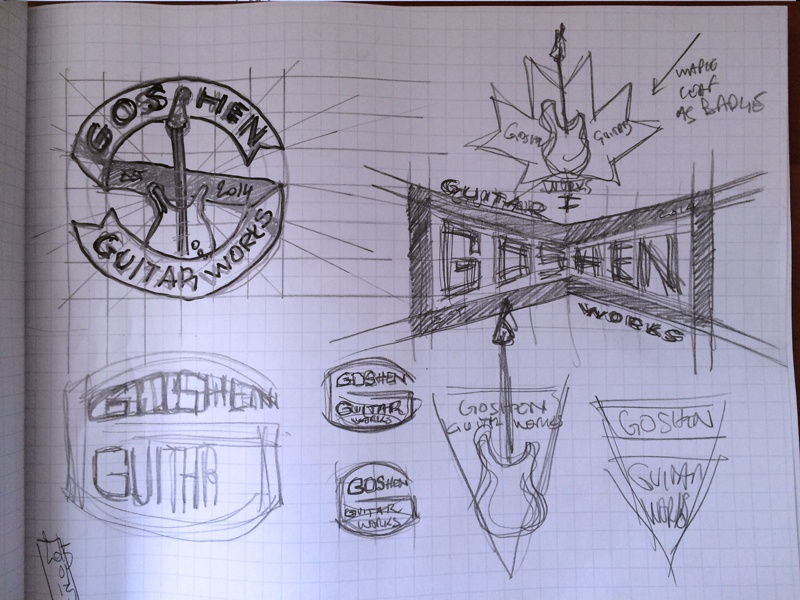 Goshen Guitar Works, phase one: sketches. sketches logo branding guitar goshen guitar works instrument shop visual identity