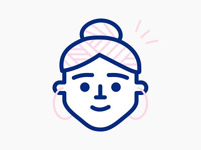 Female Character head character design xmas christmas pattern earrings hairbrush bun chignon girl woman character lineart icons flat icon set flat illustration illustration icon outline