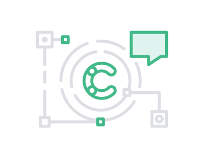 Meetups – Contentful green grey icon set connection flat illustration outline lineart icon circle speaking talking speaking bubble communication company meeting meetup