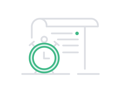 Event Specs –Contentful green grey icon set outline flat illustration lineart icon notes specification list paper note time watch date clock