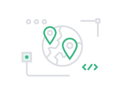 Event Location – Contentful icon set green pin grey lineart outline flat illustration icon travel globe world location location pin date event