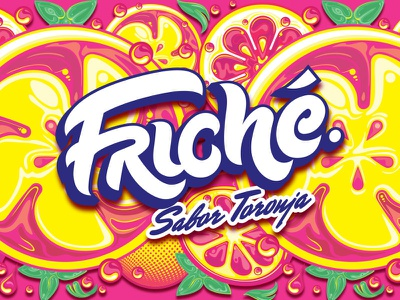 Friché type typography lettering logotype soda label illustration grapefruit