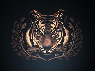 Tiger heraldry tiger cat label package illustration art