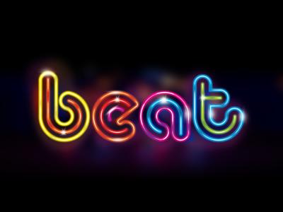 Beat beat lettering brand mark music logotype logo neon lights