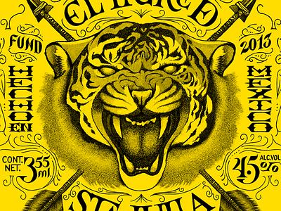 El Tigre De Santa Julia tiger santa julia beer label package type lettering yellow arrows heraldry ornaments