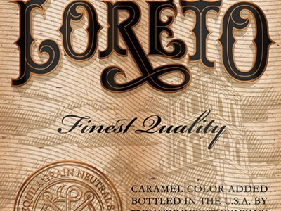 Loreto type typography lettering label package tequila illustration