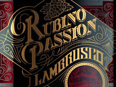 Rubino Passion logotype lettering brand type typography label wine ornaments