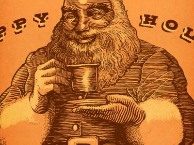Santa Package detail illustration type typography christmas package label santa claus