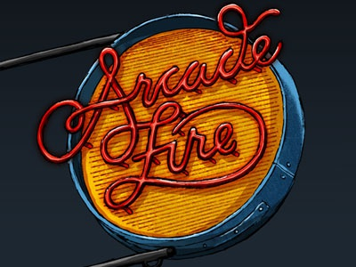 Arcade Fire type typography lettering illustration logotype arcade fire