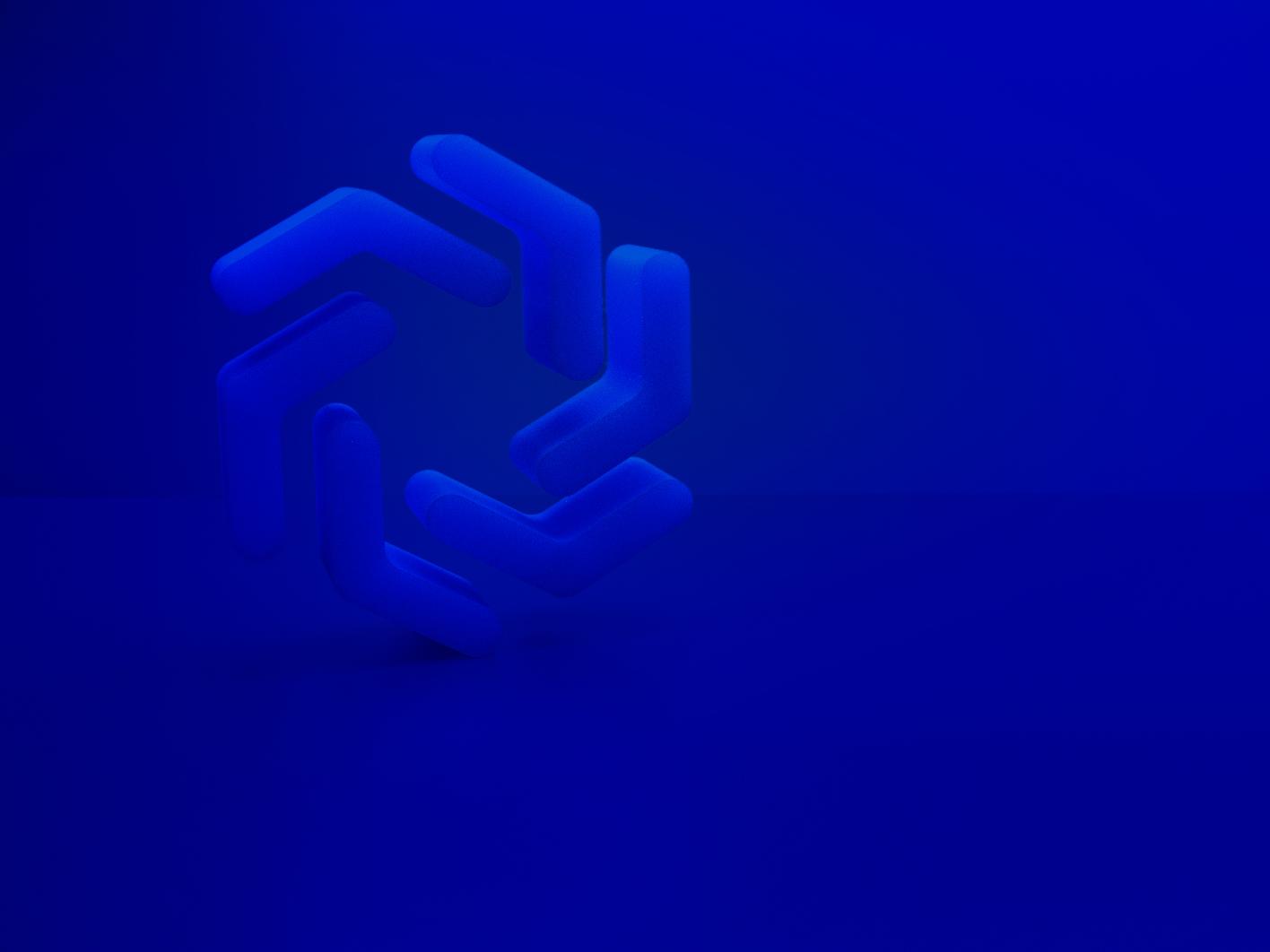 Icon Treynet ui branding logo render blue 3d treynet