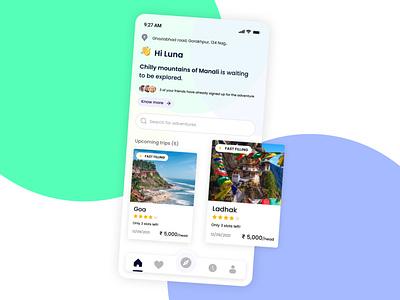 Trip maker app ux plan beach goa travel app ui travel