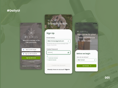 DailyUI:001 Sign Up Page sign in sign sign up cbd oil cbd green daily ui daily 100 challenge dailyui login form login login page design ux ui