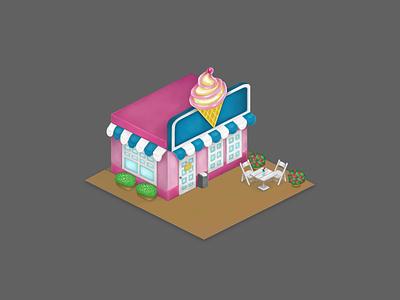 Ice cream shop adobe photoshop illustration digital art 2d art