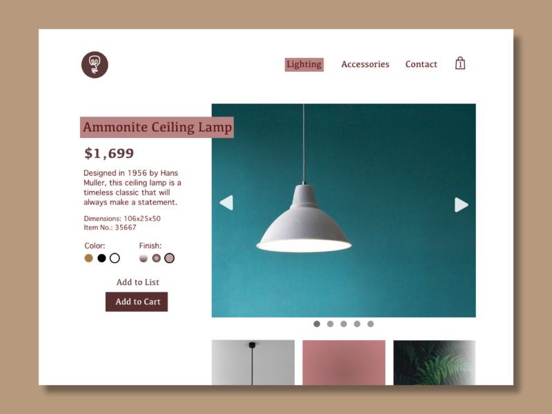 Daily UI Challenge - Day 12 lighting ecommerce branding dailyui daily ui
