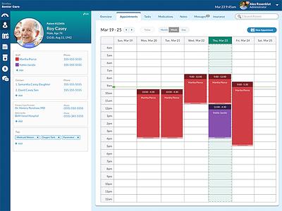 Home Care Patient Schedule - Admin View senior care schedule profile patient