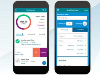 Home Healthcare - Medications Tab ux design visualization mobile