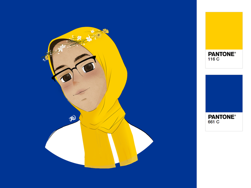 Self portrait _ version 2 blue yelow girl digital painting design illustraion drawing