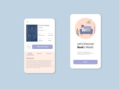 Book app design reading flat illustraion bookworm start ui illustration bookshelf book app application books book app