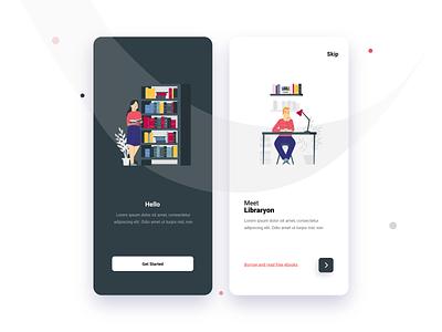 Libraryon Mobile App. illustration vector branding design app ux ui design branding