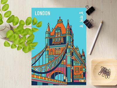 Poster - London creative sketch ui blue england tower bridge london visual art illustration illustrator graphic design drawing design concept clean branding artwork art adobe photoshop adobe illustrator