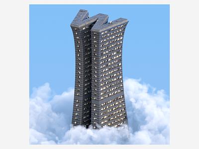W skyscraper graphic design building art cloud illustration sky digitalart redshift3d design houdini abstract 3d