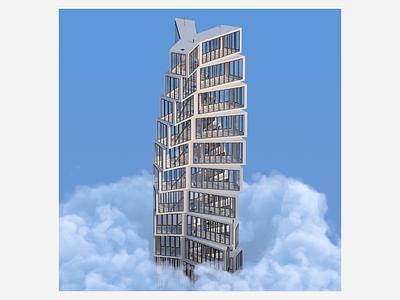 Y render architecture skyscraper graphic design art cloud illustration sky digitalart redshift3d design houdini abstract 3d