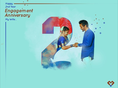 2nd Year Engagement Anniversary 2020 concept art brush illustrator graphicdesign illustration vector designer design branding