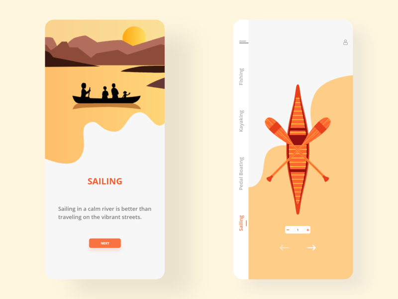 Sailing App art flat illustration illustrator minimal vector design ux ui