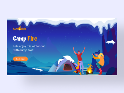Camp Fire Banner web figma illustrator illustration flat minimal vector design