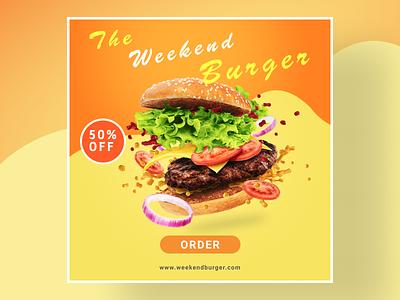 The Weekend Burger photoshop web food social media banner social media design design