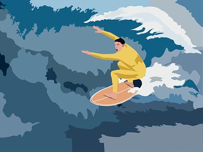Surfing flat illustrator illustration vector