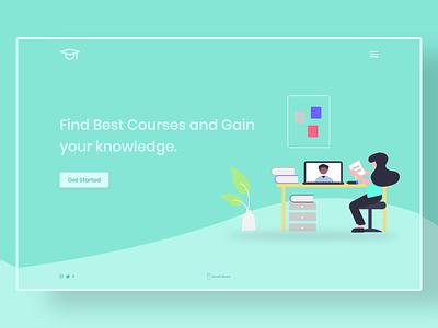 E-Learning Landing Page xd web website design ux ui minimal flat