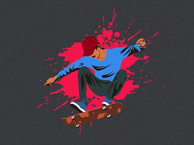 Skateboarding design illustrator illustration minimal flat vector