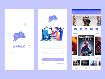 Gamez video games android app ux ui minimal design