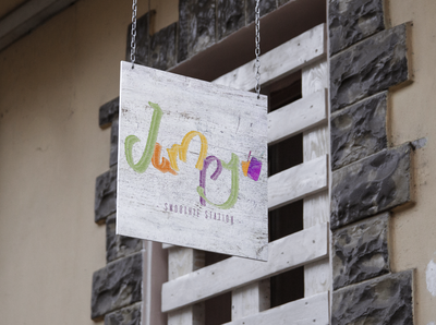 jumpy logotype signage