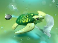 Sea Pollution - Sea Turtle