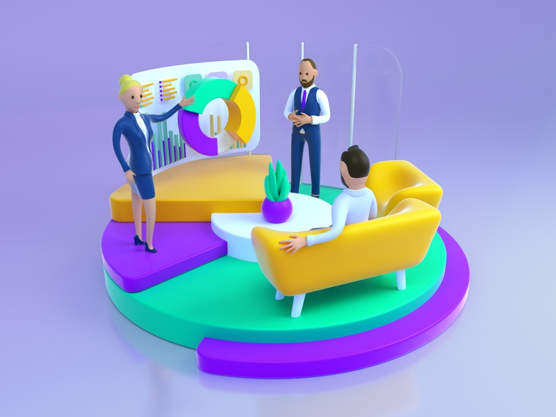 3D Graph Presentation 3dscene web vivid colorful graphs character design person meeting office presentation octane render octane 3d art illustration graphic c4d characters character 3d