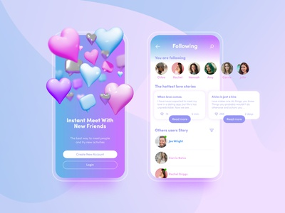 Dating App - 3D intro 3d illustration depth of field blur branding design branding sex flirt dating love octane 3d render 3d app design mobileui mobile app app uidesign ux uiux ui