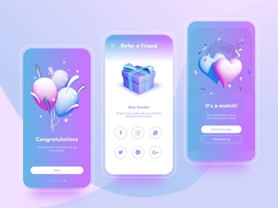 Dating Mobile App branding hearts sex flirt love birthday baloons gift icon 3d icon mobileui mobile ui cinema4d app illustration octane visual identity 3d 3dillustration
