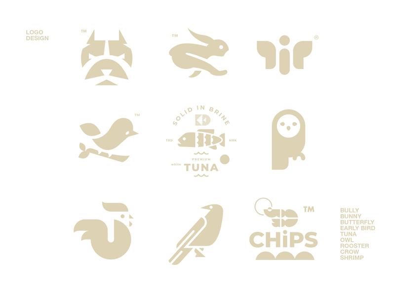 LOGO DESIGN // shrimp crow rooster owl tuna early bird butterfly bunny bully logo