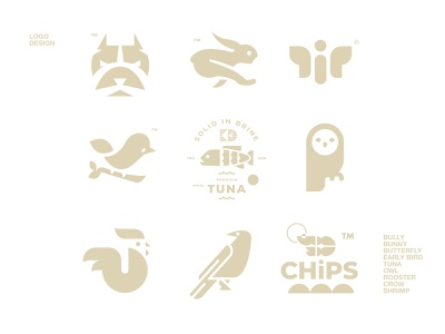 LOGO DESIGN // shrimp crow rooster owl tuna early bird butterfly bunny bully logo