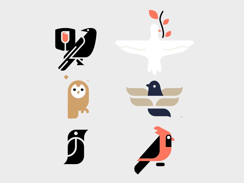 BIRDS // beltramo bird bltr cardinal crow dove icon illustration logo peace pigeon
