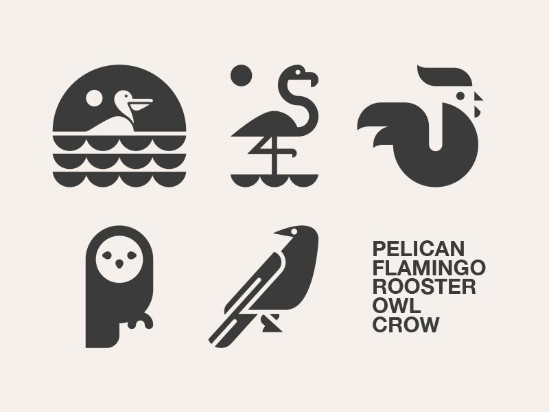 LOGO DESIGN // animal beltramo bltr crow flamingo icon illustration logo owl pelican rooster