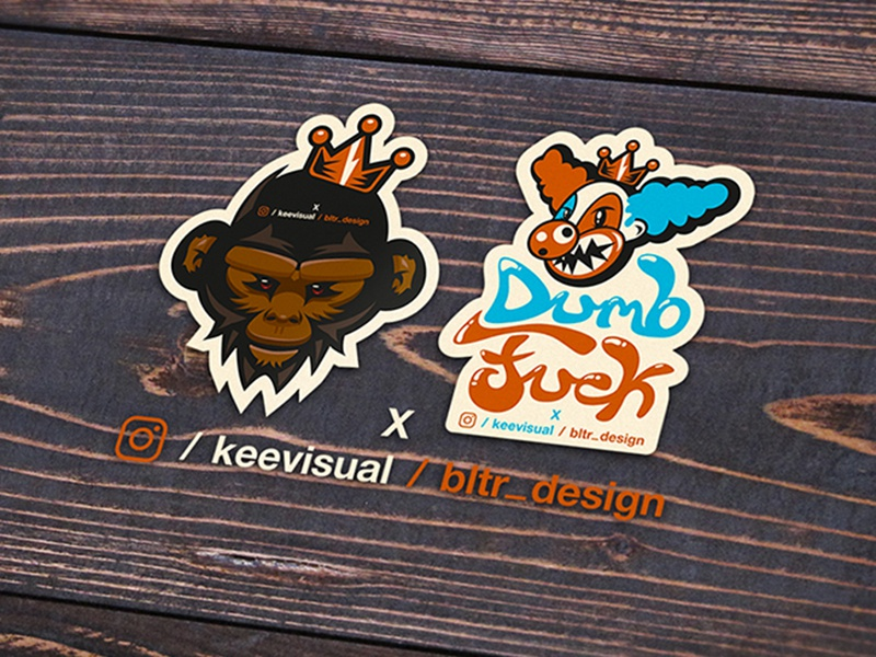 keevisualXbltr_design sticker keevisual clown character bltr beltramo ape