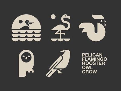 LOGOS FOR SALE // rooster pelican owl logo illustration icon flamingo crow bltr beltramo animal