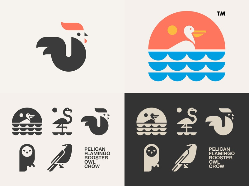 #Top4Shots of 2018 on Dribbble // logo crow owl rooster flamingo pelican bltr beltramo
