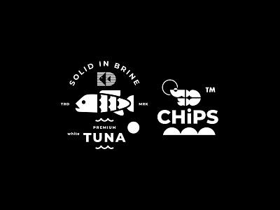KD TUNA // SHRIMP CHIPS // B/W VERSION // branding icon illustration fish logo shrimp tuna bltr beltramo