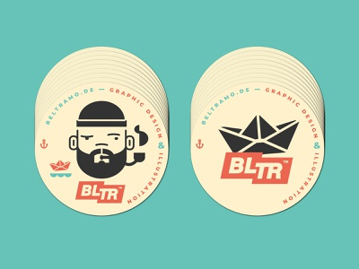 BLTR COASTERS // branding self promotion character icon logo stickermule bltr beltramo illustration sailor coaster
